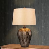 29.5-inch Brown Resin Table Lamp with Paper Lantern Fold Effect