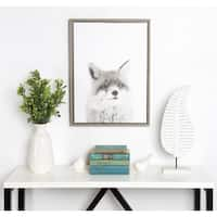 Simon Te Tai DesignOvation Sylvie Fox Black and White Portrait Grey Framed Canvas Wall Art