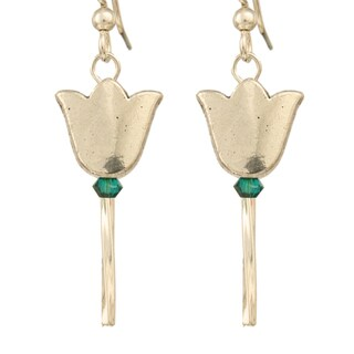 Whimsical Goldtone or Silvertone Tulip Earrings with Green or Clear Crystal