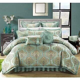 Chic Home 13-piece Giovani Blue Jacquard Comforter Set