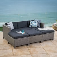Puerta Outdoor 7-piece Wicker Daybed Set with Cushions by Christopher Knight Home