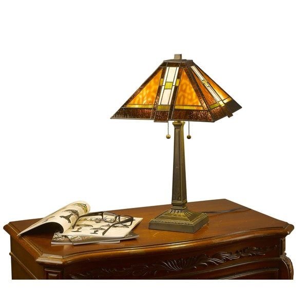 Tiffany Style Mission Aztec Table Lamp 1135221