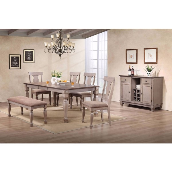 Dining Room Table For 2: K And B Furniture Two-tone Brown Wood Upholstered Dinette