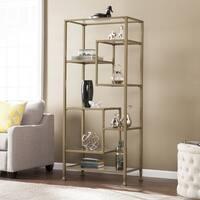 Harper Blvd Jensen Metal/Glass Asymmetrical Etagere/Bookcase - Matte Khaki