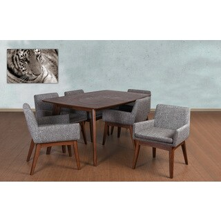 Ruby Mid-Century 7 Piece Living Room Armchair Dining Set, Coral Textile Fabric