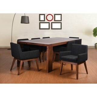 Ruby Deluxe Mid-Century 9 Piece Living Room Armchair Dining Set, Liqurice Textile Fabric