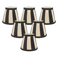 "Royal Designs Black and Eggshell Decorative Trim Empire Chandelier Lamp Shade, 3"" x 5"" x 4.5"", Clip On- Set of 6"