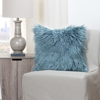 Havenside Home Wakulla Llama Teal Faux Fur Throw Pillow