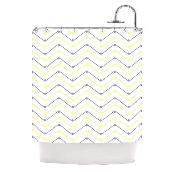 KESS InHouse CarolLynn Tice Witty Yellow Gray Shower Curtain (69x70)