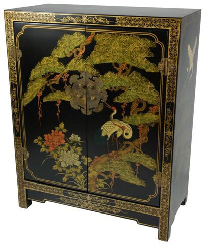 Wood Black Lacquer Cabinet China 1137614 Overstock