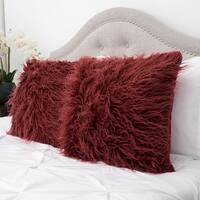 Mongolian Decorative Assorted Colors Faux Fur 18-inch Pillow Pair