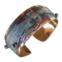 Patina Dragonfly Cuff Bracelet with Amethyst and Garnet by Elaine Coyne