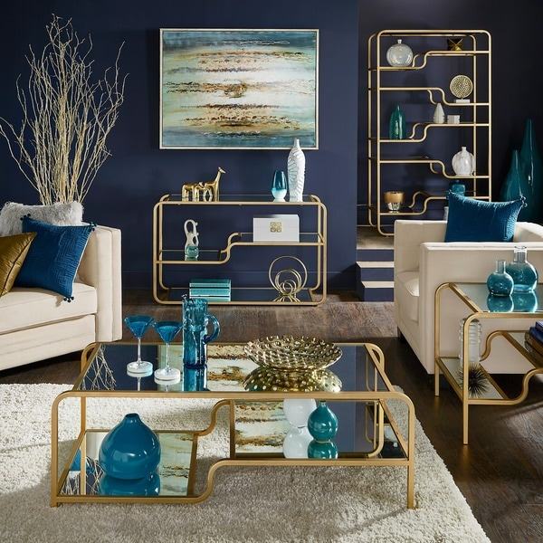 Giana Champagne Gold Mirrored Shelves Accent Tables by iNSPIRE Q Bold