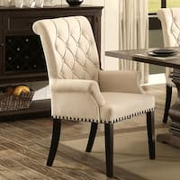 Decorative Rolled Button Tufted Arm Chair with Nailhead Trim