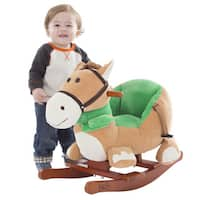 Happy Trails Brown Rocking Horse Plush Animal on Wooden Rockers