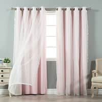 Aurora Home Mix&Match Blackout and Dot Sheer Panel Pair - 52x84