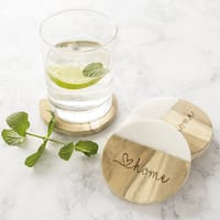 Love Home Marble & Acacia Wood Coasters - Set of 4