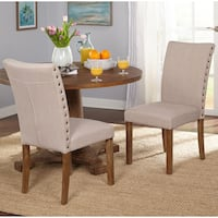 Simple Living Atwood Nailhead Parson Dining Chairs (Set of 2)