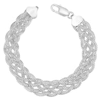 Argento Italia Sterling Silver Braided Bracelet (7.5 inches)