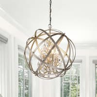 Benita Antique Copper 4-light Metal Globe Crystal Chandelier