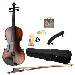 4/4 Classic Solid Wood Violin, Case, Bow Violin Strings, Rosin, Shoulder Rest, Electronic Tuner Retro Color