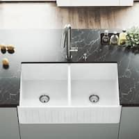 "VIGO 33"" Handmade Matte Stone Double Bowl Farmhouse Sink"
