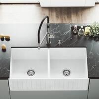 """VIGO 36"""" Handmade Matte Stone Double Bowl Farmhouse Kitchen Sink"""