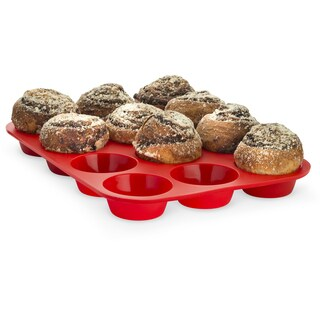 Born Baker Set of Two - Non-stick 12 Cup Silicone Cupcake Muffin Pan Baking Tray