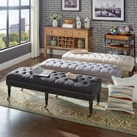Solaine Button Tufted Linen Nail Head Castered Bench by iNSPIRE Q Artisan