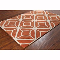 Artist's Loom Hand-tufted Contemporary Geometric Orange/White Wool Rug (8'x10')