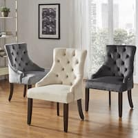 Benchwright II Velvet Button Tufted Wingback Hostess Chairs (Set of 2) by iNSPIRE Q Bold