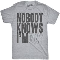 Mens Nobody Knows Im Gay Funny Gay Pride LGBT Community T shirt (Grey)