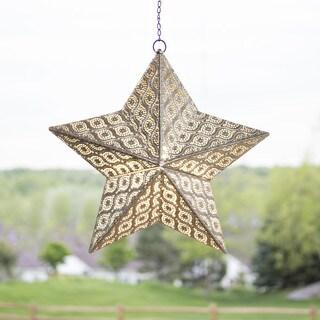 "17.7""H Stamped Metal Indoor/Outdoor Cordless LED Star Lantern"