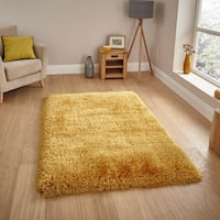 Hand-tufted Solid Gold Shag Area Rug (6'6 x 9'2)