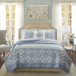 Madison Park Essentials Nova Blue Complete Coverlet and Cotton Sheet Set