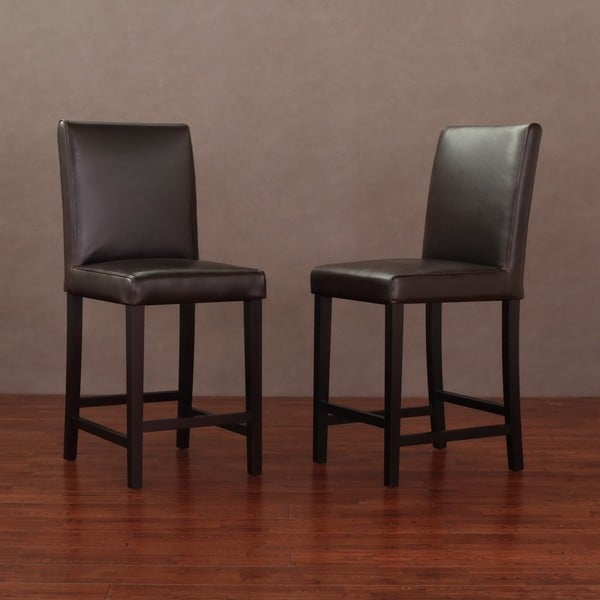 Andre 24 Inch Dark Brown Leather Counter Stools Set Of 2