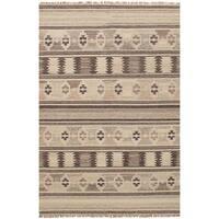 eCarpetGallery Flatweave Izmir Brown/Ivory Wool Kilim Rug - 5'3 x 8'1