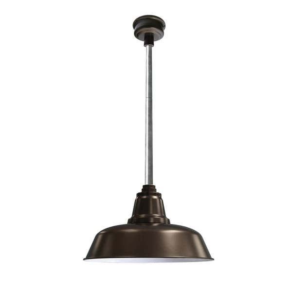 """16"""" Goodyear LED Pendant Light in Mahogany Bronze with Galvanized Silver Downrod"""