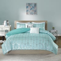 Intelligent Design Khloe Aqua/Silver Metallic Printed 5-piece Comforter Set