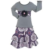 AnnLoren Girls Boutique Grey Tunic and Purple Medallion Pants