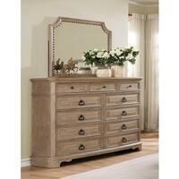 Piraeus 296 11 Drawers White Wash  Dresser and NailHead Trim Mirror