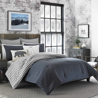 Eddie Bauer Kingston Charcoal Cotton and Flannel Reverse Comforter Set