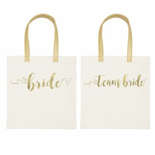 Gold Foil Bride + Team Bride Wedding Canvas Tote