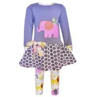 AnnLoren Girls Boutique Elephant Jungle Animals Dress and Leggings Set