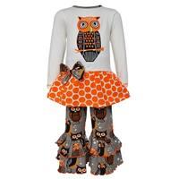 AnnLoren Girls Boutique Autumn Owl Long Sleeved Tunic and Pants Set