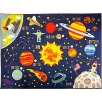 "KC CUBS Outer Space Safari Road Map Educational Area Rug - 5' 0"" x 6' 6"""