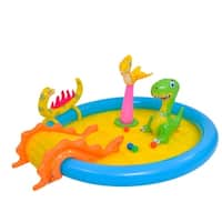 """84.5"""" Blue and Yellow Inflatable Dinosaur Themed Children's Play Pool"""