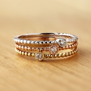 Auriya 0.03ct TDW Petite Ultra-Thin Beaded Diamond Accent Stacking Ring