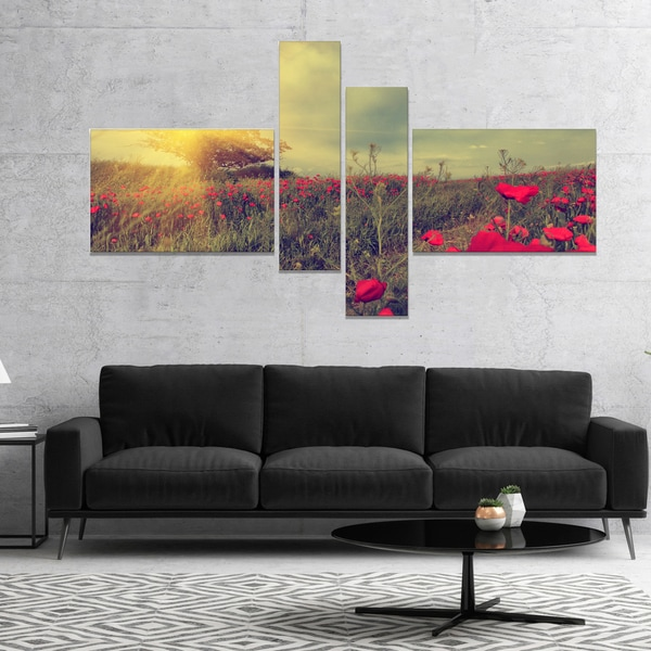 Designart 'Vintage Photo of Poppies at Sunset' Floral Canvas Art Print - Red