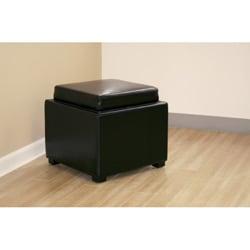 Black By Cast Leather Storage Tray Ottoman 10064989